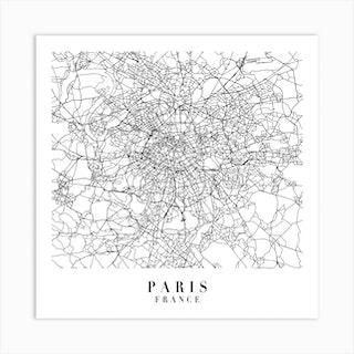 Paris France Street Map Minimal Square Art Print