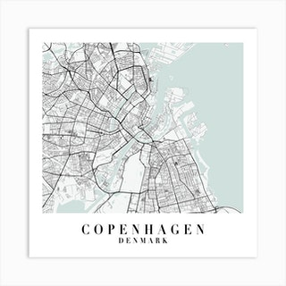 Copenhagen Denmark Street Map Minimal Color Square Art Print
