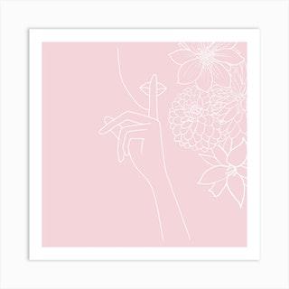Pink Minimal Line Art Girl With Flowers Art Print