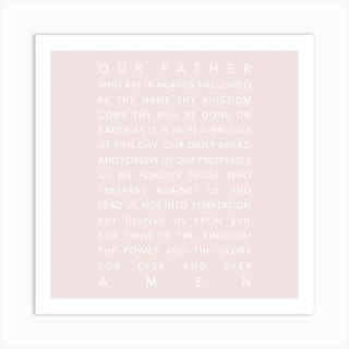 The Lords Prayer Pink Square Art Print