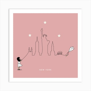 New York Kite Skyline Art Print