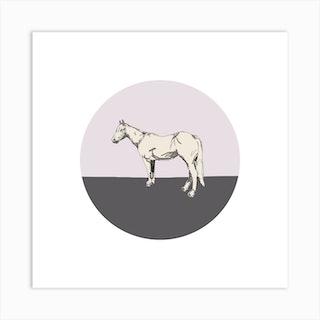 Horse On Pink Grey  Square Art Print