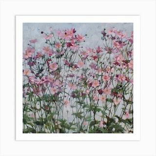 Pink Japanese Anemones Art Print