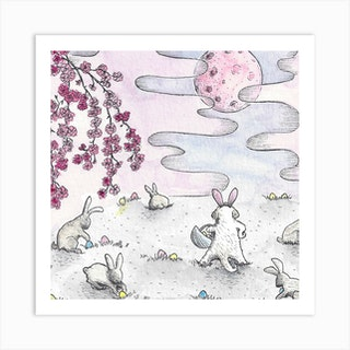 Pink Easter Moon Square Art Print