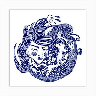 Mermaid On Chesil Square Art Print