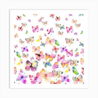 Spring Watercolor Butterflies Square Art Print