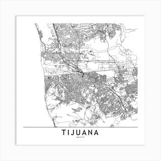Tijuana White Map Square Art Print