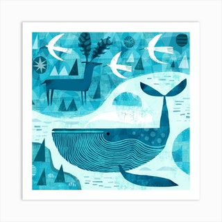 Whale, Deer And Birds Square Art Print