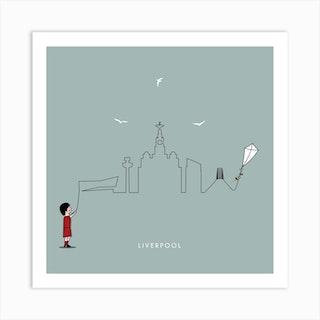 Liverpool Skyline Sea Grey Art Print