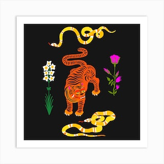 Tiger And Snakes Flowers Square Art Print