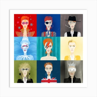 David Bowie Nine Portraits Art Print
