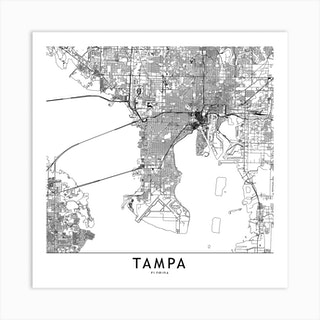 Tampa White Map Square Art Print