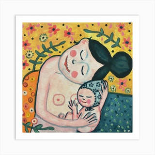 Gustav Klimt'S Motherhood Square Art Print