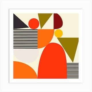 Mid Century Bauhaus 2 Square Art Print