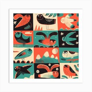 Owls 2 Square Art Print