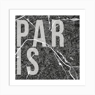 Paris Mono Street Map Text Overlay Square Art Print