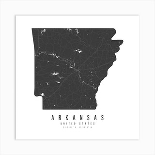 Arkansas Mono Black And White Modern Minimal Street Map Square Art Print