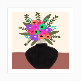 A Vase Of Flowers Square Art Print