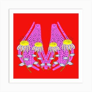 Cheetahs Pink Yellow Flowers Square Art Print
