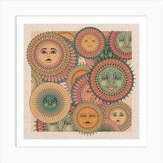 Sun Faces Art Print