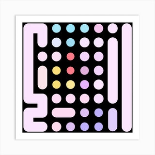 Dots And Levers 1 Square Art Print