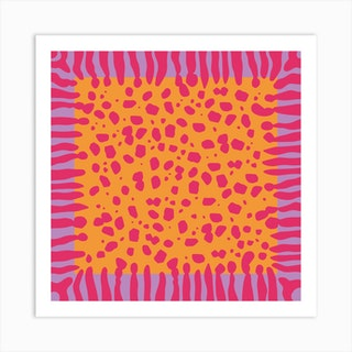 Fuchsia Cheetah Square Art Print