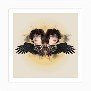 Abstract Bird Woman Square Art Print
