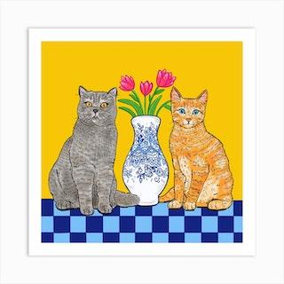 Cats Square Art Print