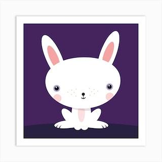 Nursery Kawaii Rabbit Square Art Print