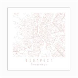 Budapest Hungary Light Pink Minimal Street Map Square Art Print
