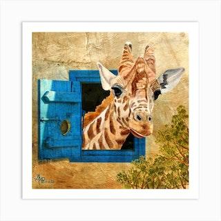 Suddenly A Giraffe Square Art Print