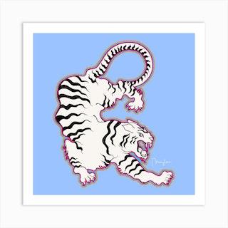 White Tiger Outlined Square Art Print