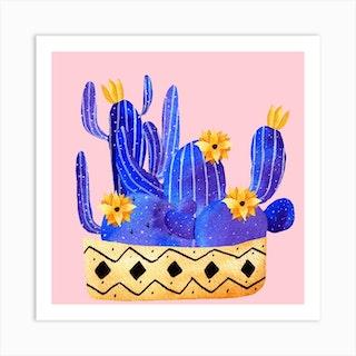 Golden Pot And Cactus Composition Square Art Print