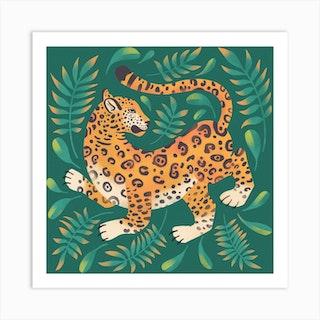Dancing Jaguar Square Art Print