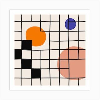 Square Grid And Circles Square Art Print