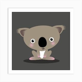 Nursery Kawaii Koala Square Art Print