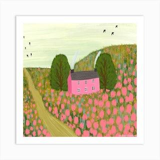 Pink Fields Square Art Print