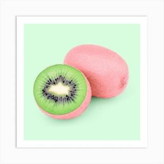 Pink Kiwi Square Art Print