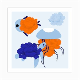 Flower Fish And Blue Peonie Square Art Print