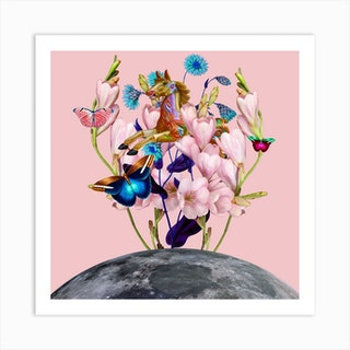 Flying Horse Over The Moon Square Art Print