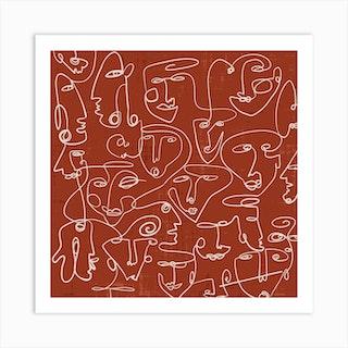 Line Art Faces Square Art Print