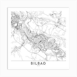 Bilbao White Map Square Art Print