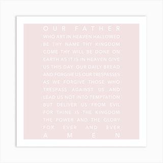 The Lords Prayer Pink Square Art Print