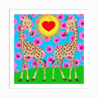 Love In The Air Square Art Print