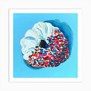 Sprinkle Donut Square Art Print