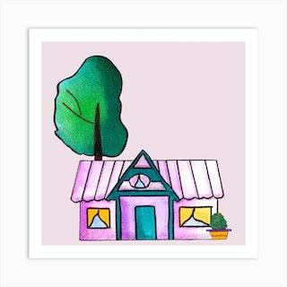 Purple Cute House Square Art Print