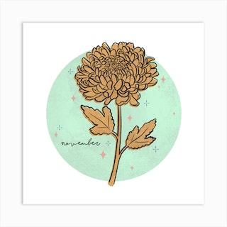 November Birth Flower Art Print
