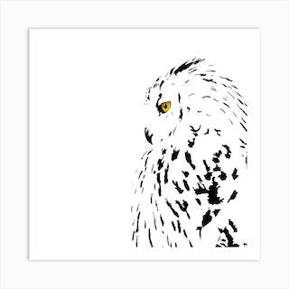 Snowy Eyed Owl White Series Square Art Print