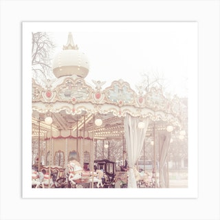 Carousel Of Paris In Fog Square Art Print