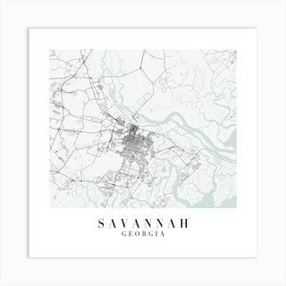 Savannah Georgia Street Map Minimal Color Square Art Print